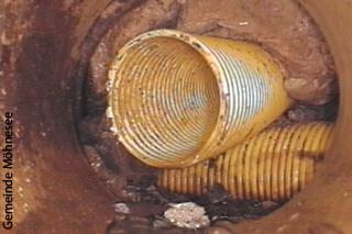 Dränagen im Untergrund - Aufnahme einer Inspektionskamera