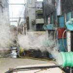 Rauchendes Rohr: Fräsen des Anschlusses erzeugt Staubwolke