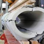 gebrochenes Stahlbetonrohr nach Scheiteldruckprüfung