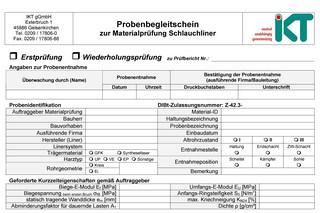 IKT-Probenbegleitschein Schlauchliner