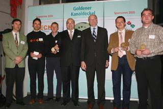von links: Winfried Hilsdorf, Joachim Heider und Marcus Alf, Roland W. Waniek (IKT), Staatssekretär Dr. Alexander Schink, (NRW-Umweltministerium), Mario Heinlein, Markus Mendek