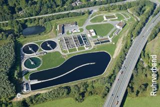 Luftbild der Kläranlage Essen-Süd