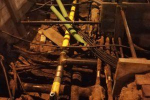 Blick in Baugrube mit verschiedenen Leitungen und Baumwurzeln