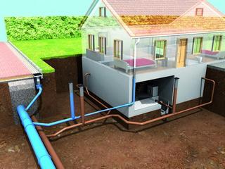 Schnittgrafik Einfamilienhaus mit Grundstücksentwässerungsanlage
