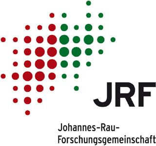 JRF-Logo mit roten und grünen Punkten auf weißem Hintergrund