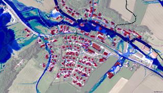 Grafik Überflutungssimulation einer kleinen Ortschaft