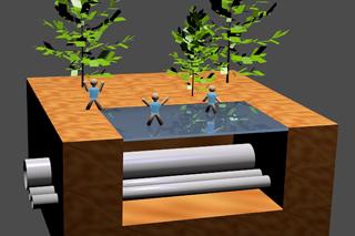 3D-Skizze Leitungsgraben mit Glasplatte