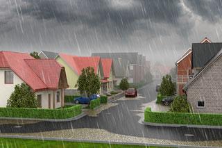 Grafik Starkregen und Überflutung in Wohngebiet