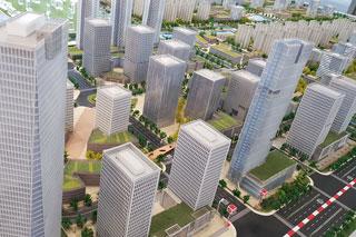 Blick aus der Vogelperspektive auf neues Gewerbegebiet mit Hochhäusern in Nanjing