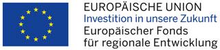 Flagge der Europäischen Union und EFRE-Kennung