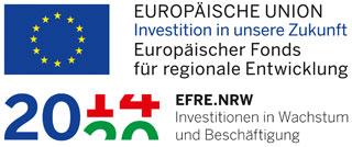 Flagge der Europäischen Union und Logo des EFRE Fonds