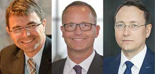 Montage aus drei Portraits von Männern mit Brillen
